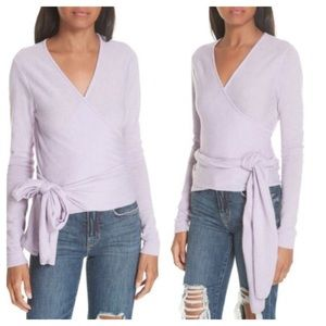 Autumn Cashmere Purple Wrap Surplus Top SzXL